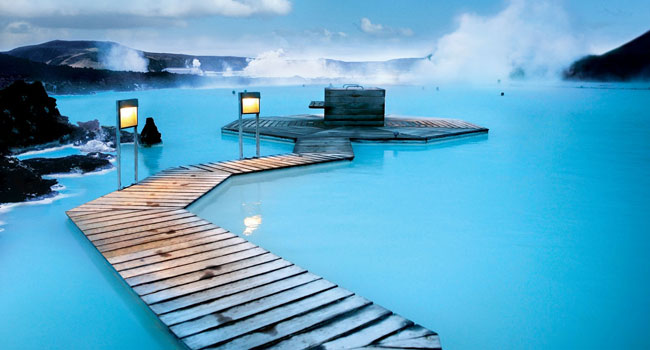 Wooden walkways at the Blue Lagoon, Iceland