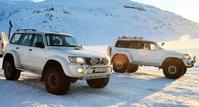 Super Jeeps on a glacier, Iceland