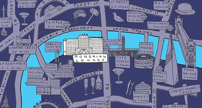 Illustrated map of the Mondrian, London