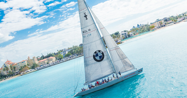 BMW Bahamas yacht with branded sail