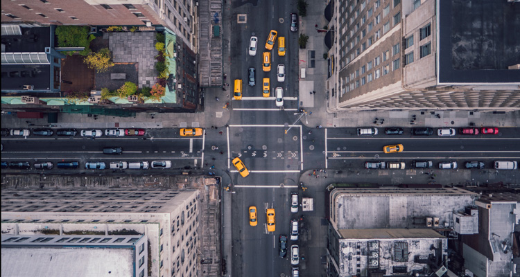 Aerial perspective of a New York intersection