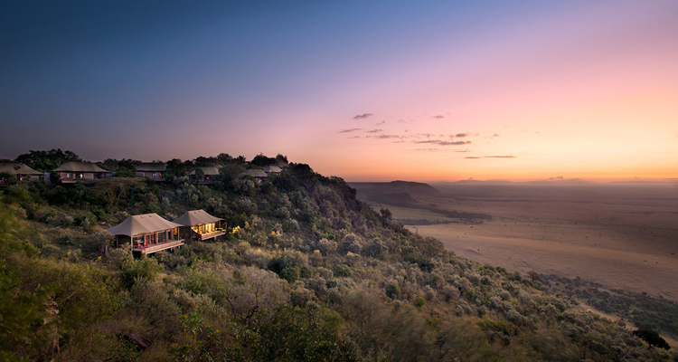 Angama Mara safari camp overlooking the Maasai Mara at sunset