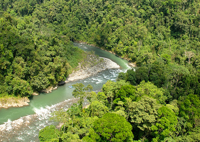Whitewater rafting on a river in Costa Rica