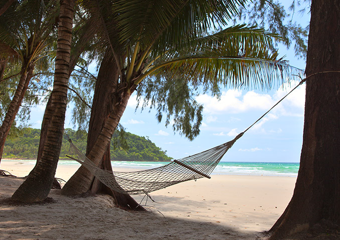 Hammock swinging in the shade of a palm tree on Necker Island
