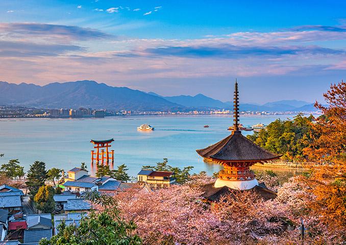 The torii gate of Itsukushima shrine, Miyajima island, Japan