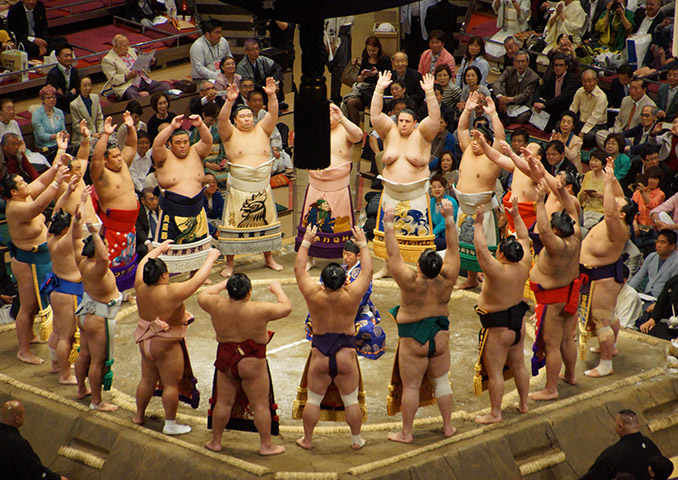 Sumo wrestler tournament opening ceremony