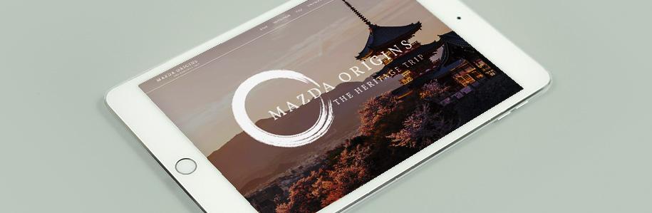 Mazda Origins microsite displayed on an iPad