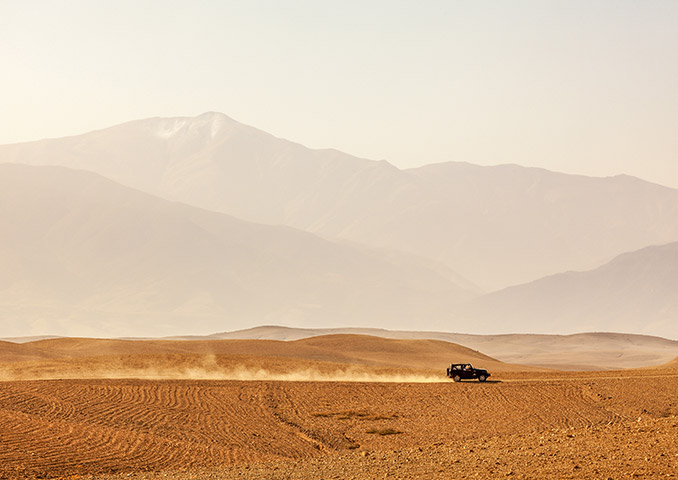 4x4 driving through the Agafay desert in Morocco