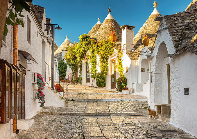 Cobbled street in the village of Ostuni