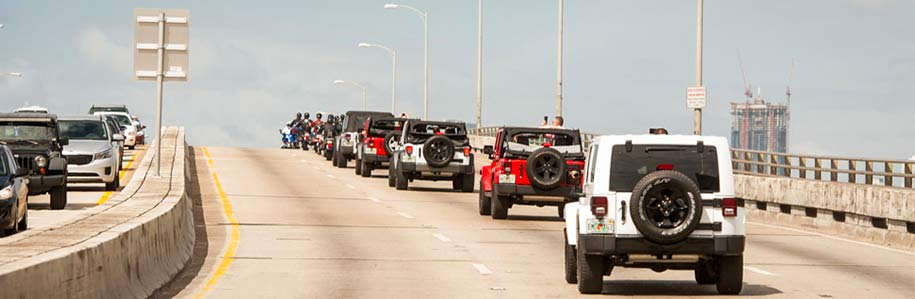 Jeeps driving on the highway in Miami