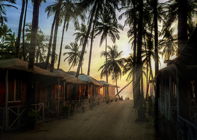 Beach huts at sunset in Goa