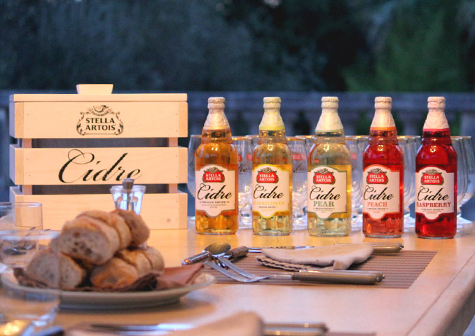 5 Bottles of Stella Artois Cidre laid out on a table