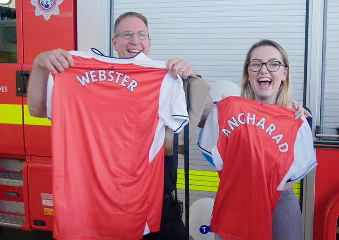TSB Prizewinners Holding Personalised Arsenal Shirts