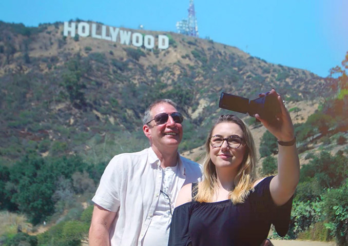 TSB Prizewinners taking a selfie beneath the Hollywood sign