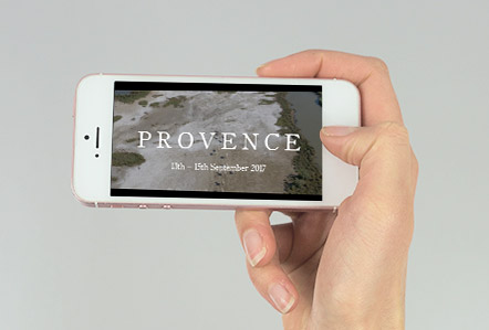 Provence teaser video displayed on an iPhone