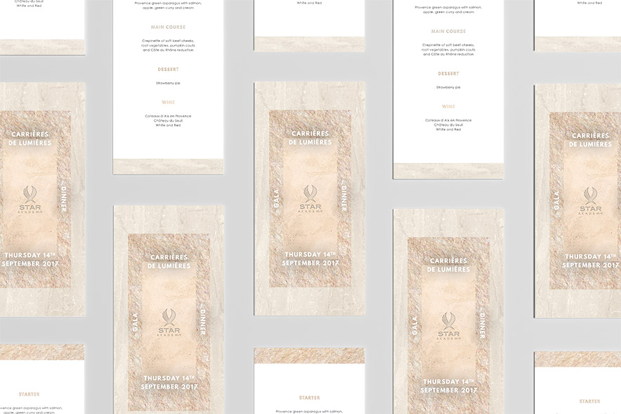 Menus for gala event at Carrieres de Lumieres