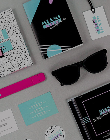 Miami Nice Incentive identity: Soundtrack CD, Sunglasses, USB Snap Bracelet and Stickers
