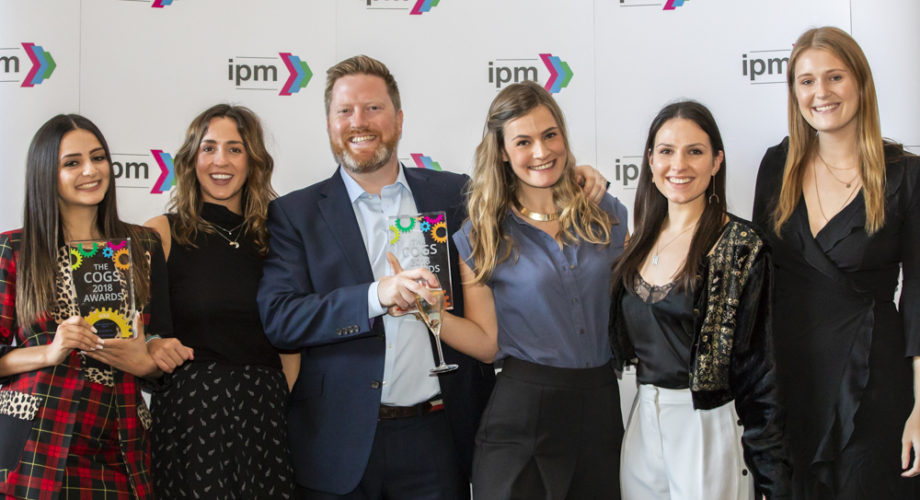 IPM COGS Awards 2018 - the team picking up their Gold Award for Airbnb 'Night At'