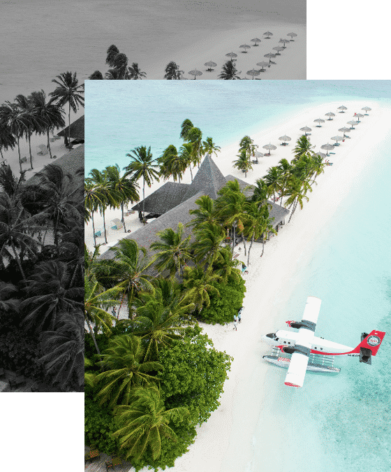 Prize Promotions - seaplane outside a private island villa