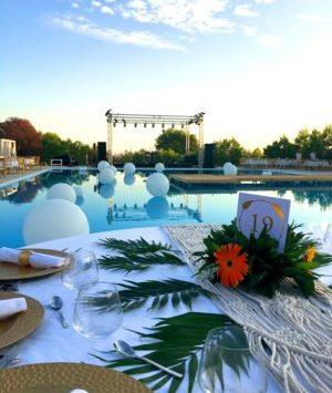 Push boundaries: Poolside gala dinner setup, Obonjan